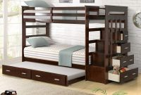 Wood Bunk Bed for Kids, Twin Over Twin Bunk Bed Frame with Trundle and Staircase, Espresso Finish
