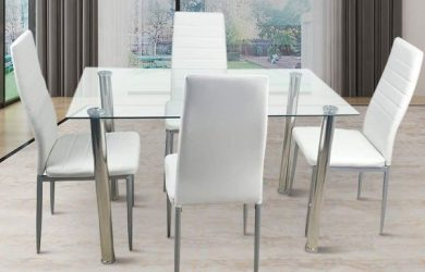 110cm Dining Table Set 5PCS Modern White Tempered Glass Dining Set with 4pcs PVC Leather Chairs Transparent & Creamy White(White)