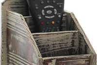 3 Slot Rustic Torched Wood Remote Control Caddy Media Organizer, Office Supply Storage Rack