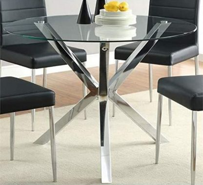 BOWERY HILL 41inch Round Glass Top Contemperary Dining Table in Chrome