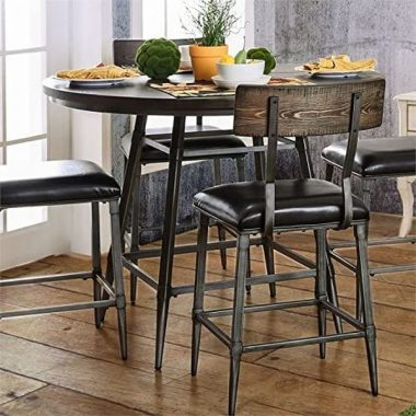 BOWERY HILL 45inch Industrial Round Counter Height Dining Table in Weathered Gray