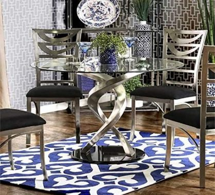 BOWERY HILL Round Dining Table in Satin