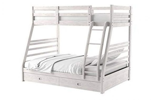 BOWERY HILL Transitional Wood Twin Over Full Storage Bunk Bed in Brushed White