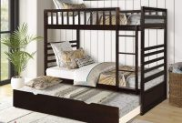 Bunk Beds for Kids, Twin Over Twin Bed with Trundle, Wooden Twin Bed with Safety Rail Ladder, Teens Bedroom Bed, Guest Room Furniture (Brown)