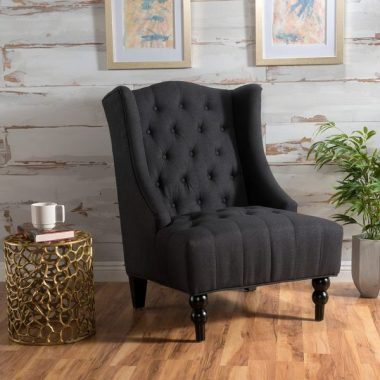 Christopher Knight Home 299876 Clarice Tall Wingback Fabric Club Chair Perfect For Living Room, Charcoal