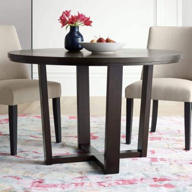 Conrad 48inch Wide Dark Brown Wood Round Dining Table - Elm Lane