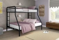DHP Twin-Over-Full Bunk Bed with Metal Frame and Ladder, Space-Saving Design, Black