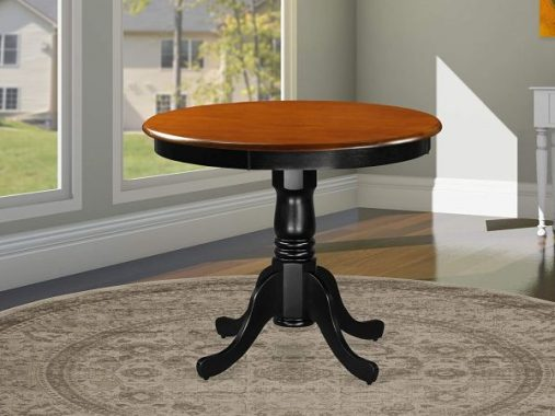 East West Furniture ANT-BLK-TP Antique Dining Room Table-Cherry Table Top Surface and black Finish legs Hardwood Frame Wood Table