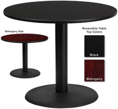 Flash Furniture 36 Inch Round Dining Table with Black or Mahogany Reversible Laminate Top
