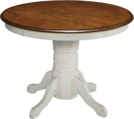 French Countryside Oak White 42inch Round Pedestal Table by Home Styles