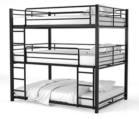 Furniture of America Botany Metal Queen Triple Bunk Bed in Sand Black