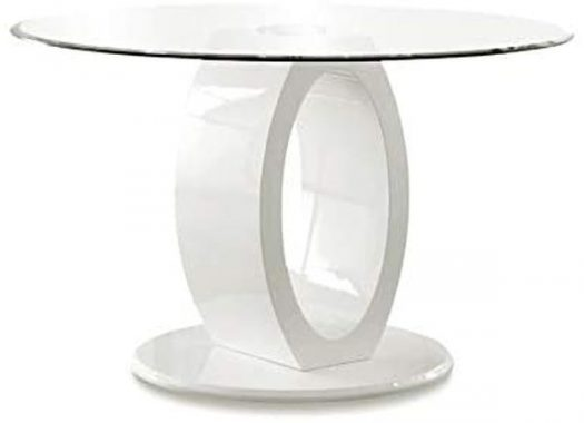 Furniture of America Hugo Round Tempered Glass Top Dining Table in White