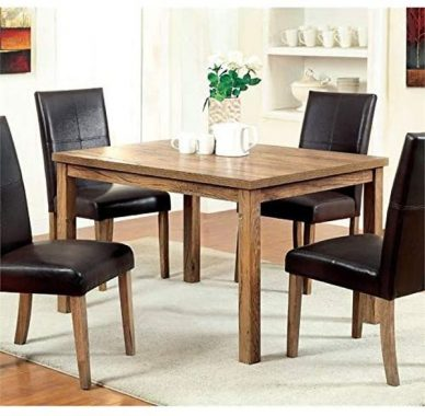Furniture of America Loen Dining Table in Weathered Elm