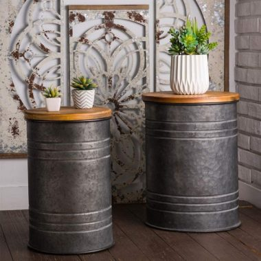 Glitzhome Rustic Storage Bins Metal Stool Ottoman Seat with Round Wood Lid Set of 2