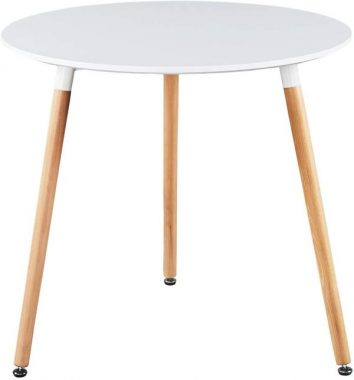 GreenForest Dining Table White Modern Round Table with Wood Legs for Kitchen Living Room Leisure Pedestal Table