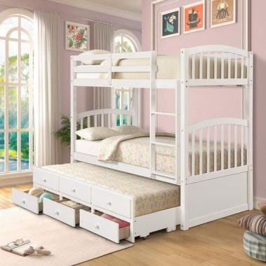 Harper&Bright Designs Solid Wood Bunk Bed for Kids, Twin Over Twin Bunk Bed (Bunk Bed Trundle Bed, White)