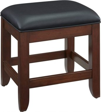 Home Styles Chesapeake Classic Cherry Vanity Bench with Black Vinyl Cushion