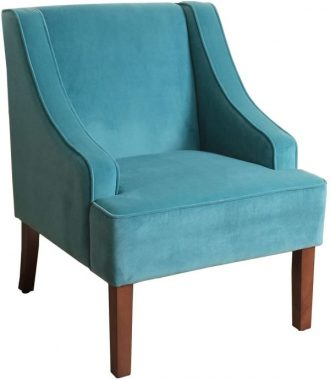 HomePop Velvet Swoop Arm Accent Chair, Teal