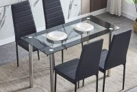 HomeSailing Modern 5 Pieces Glass Kitchen Dining Room Set Glass Table with Metal Legs and 4 Chairs Faux Leather Restaurant Home Furniture (1 Table 4 Chairs)