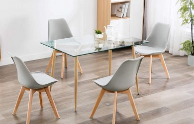 Ivinta Kitchen Modern Glass Rectangular Dining Table 48inch x 32inch for 4-6 with Foot pad for Dining Room Mid-Century Leisure Office Table Wooden Skin
