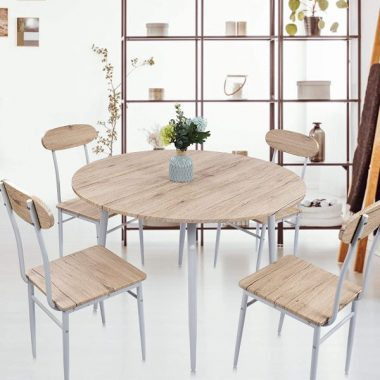 KARMAS PRODUCT 5 PC Wood Round Dining Set Table and Chairs for 4 Person with Metal Legs,Home Kitchen Breakfast Furniture