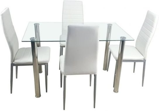 Kitchen Dining Table Set,5 Pieces Modern Dining Room Table Set with Tempered Glass Top & 4 High Back Leather Chairs Dinette Set for 4,Sturdy Metal Frame Kitchen Breakfast Furniture Counter Height,White