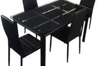 Kitchen Dining Table Set,5 Pieces Modern Dining Room Table Set with Tempered Glass Top & 4 High Back Leather Chairs Dinette for 4,Sturdy Metal Frame Kitchen Breakfast Furniture Counter Height,Black