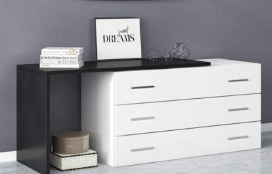 Limari Home Desсo Collection Contemporary Style Bedroom Laminate Italian Dresser With 3 Soft-Closing Drawers, Black & White