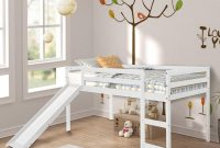 Loft Bed, Rockjame Twin Wood Kids Bed with Slide Multifunctional Design for Boys, Girls and Young Teens (White)