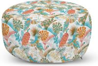 Lunarable Botanical Ottoman Pouf, Tropical Leaves Monstera Banana Palms Exotic Italian Renaissance Jacobean Effects, Decorative Soft Foot Rest with Removable Cover Living Room and Bedroom, Multicolor
