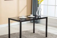Mecor Dining Table Modern Minimallist Glass Kitchen Table Rectangular Transparent Metal Legs 47IN for 4-6 Persons (Black)