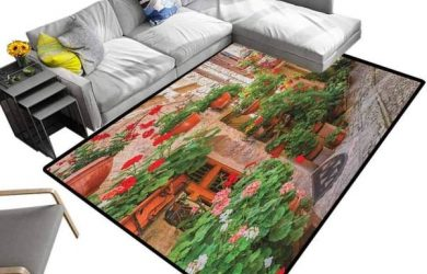 Modern Indoor Rugs Italian, Baby Crawling Mat Street View of a Small Renaissance Town with Floral Porches and Rock Mediterranean for Dining Room Home Bedroom Multicolor, 7 x 7 Feet