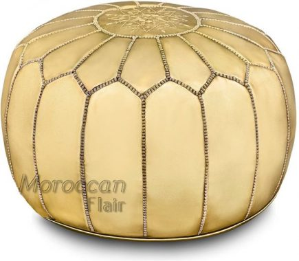 Moroccan Flair Genuine Handmade Moroccan Metallic Pouf Bedroom & Living Room Round Ottoman Premium Italian Ski Leather Eco-Friendly Materials Gold Metalic