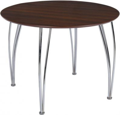 Novogratz Bentwood Round Dining Table with Chrome Plated Legs, Espresso Brown