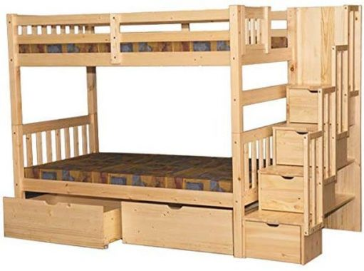 SCANICA Stairway Twin Over Twin Bunk Bed with Drawers Natural