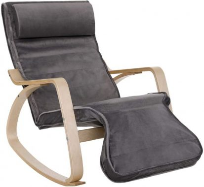SONGMICS Rocking Relaxing Lounge Chair, Solid Wood Recliner Glider with Adjustable Footrest and Headrest, Cushioned Backrest and Seat, Gray ULYY43GY