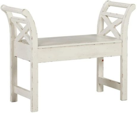 Signature Design by Ashley - Heron Ridge Storage Accent Bench - Antique White Finish - Hinged Seat