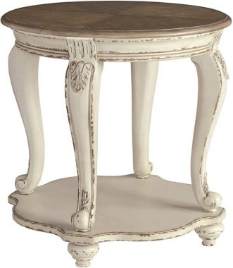 Signature Design by Ashley - Realyn Round End Table, White Brown Wood
