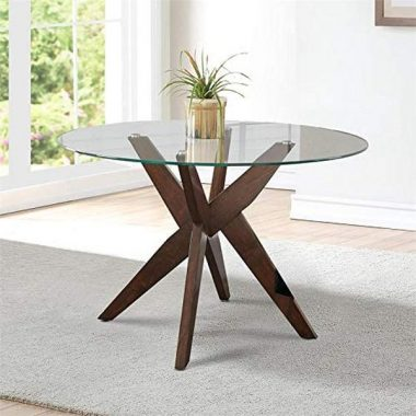Steve Silver Amalie 48inch Round Glass Top Dining Table