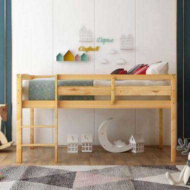 Twin Loft Bed for Kids with Ladder, Wood Kids Low Loft Bed Frame, No Box Spring Needed,Twin Size, Natural