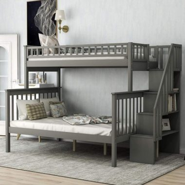 Twin Over Full Bunk Bed with Stairs, WeYoung Pine Wood Bunk Bed Frame Convertible to Twin Full Size Bed with Side Storage Shelves for Kids Teens No Box Spring Needed (Dark Grey)
