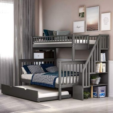 Twin Over Full Bunk Beds with Trundle, Rockjame Wood Space Saving Design Stairway Bunk Bed Frame with Storage, Convertible to 2 Separated Beds, Great for Kids and Teenagers (Gray)