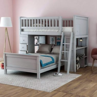 Twin-Over-Twin Bed with Storage Drawers and Stairs for Kids, Baysitone Loft System Twin Over Twin Bunk Bed Wood with Ladder (Gray)