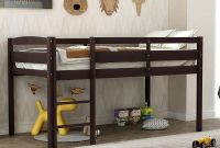 Twin Wood Loft Bed, Low Loft Bed for Kids with Ladder and Guard Rail. (Espresso)
