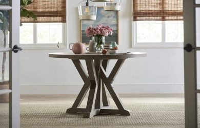 Young House Love Round Trestle Dining Table, Brown