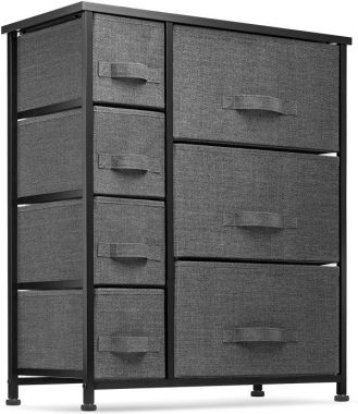 7 Drawers Dresser - Furniture Storage Tower Unit for Bedroom, Hallway, Closet, Office Organization - Steel Frame, Wood Top, Easy Pull Fabric Bins Black Charcoal