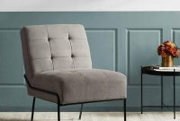 Accent Chair - Armless Upholstered Chair with Stain Resistant Fabric and Elegant Pintucking - Premium High Density Foam Cushion for Supreme Comfort - Easy Assembly - Gray