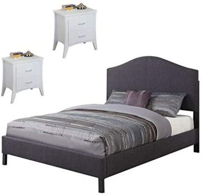 Acme Furniture Clyde 3 Piece Bedroom Set with Queen Gray Bed with Set of 2 White Nightstand