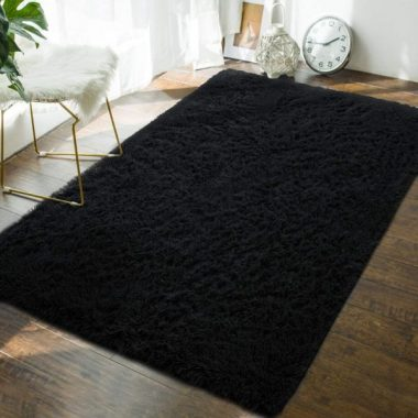 Andecor Soft Fluffy Bedroom Area Rugs - 4 x 6 Feet Indoor Modern Shaggy Plush Rug for Boys Kids College Dorm Living Room Home Decor Luxury Solid Accent Floor Carpet, Black