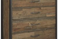 Ashley Furniture Signature Design - Sommerford Chest - Casual - 5 Drawers - Light Grayish Brown Finish Reclaimed Wood - Silver Bronze Hardware Legs